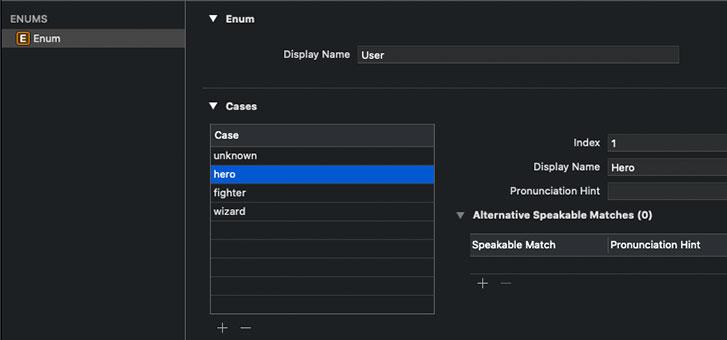 intentdefinitiontarget ファイルを開き左下の+ボタンを押して New Enum で Enum を追加し、下記のように編集