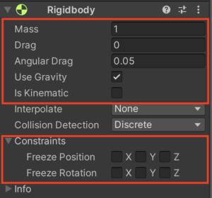 Rigidbody コンポーネントを見てみると、いくつかのプロパティーが並んでる