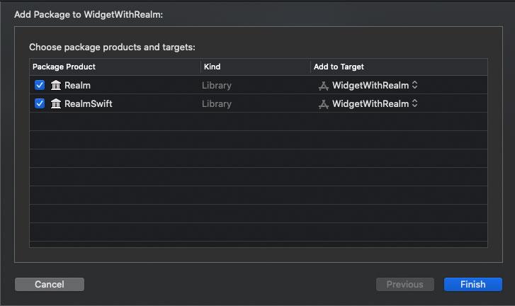 Realm と RealmSwift にチェックをつけて、インストール開始