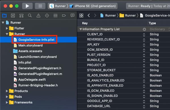ダウンロードした「GoogleService-Info.plist」ファイルを、「Runner/Runner」フォルダ直下に配置
