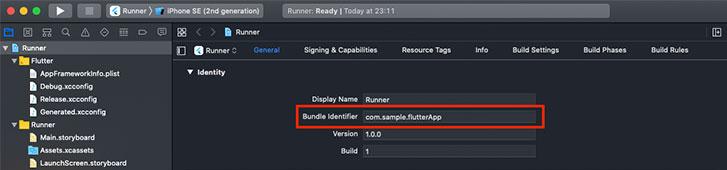 「/ios/Runner.xcodeproj」フォルダを Xcode で開き、Bundle Identifier の欄で確認・編集