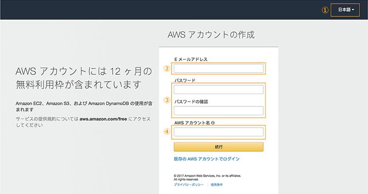 AWS アカウントの作成