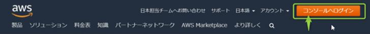 AWS トップページのコンソールへログイン