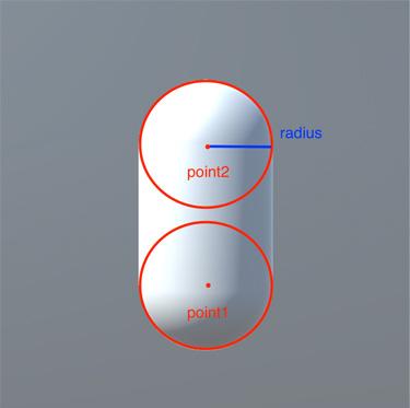 「point1」「point2」は、カプセルの両端の円の中心の座標で、「radius」はその半径