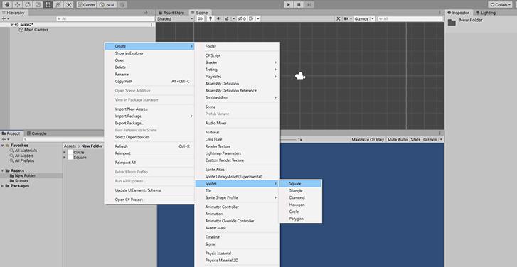 「Create > Sprites > 」の手順で、「Square」