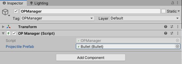 OPManager に、さっき作った Bullet をアタッチ